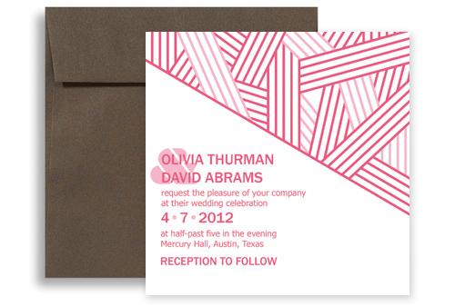 pink white contemporary blank wedding invitation 5x5 in  square