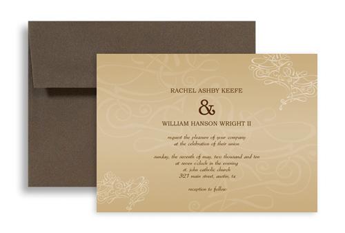 Swirly Beige Cream Brown Microsoft Wedding Invite 7x5 In Horizontal