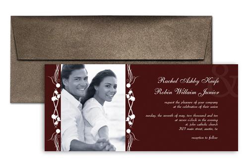 elegant frame photo printable wedding invitation 9x4 in horizontal