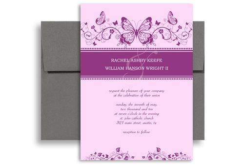 Purple White Erfly Printable Wedding Invitation 5x7 In Vertical