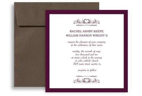 purple white marriage printable wedding invitation 5x5 in
