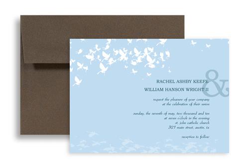 Make Baby Blue Butterflies Wedding Announcement Samples 7x5 In Horizontal